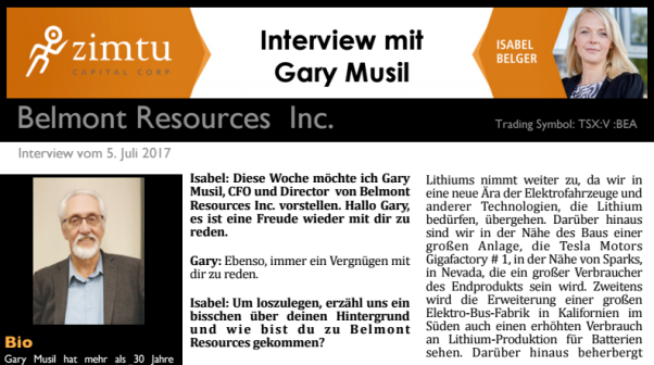 Interview mit Gary Musil von Belmont Resources...