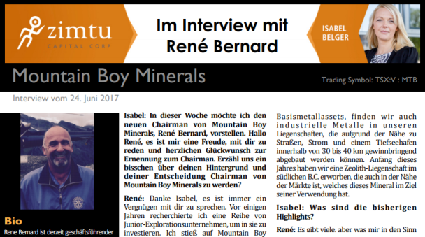 Interview mit Rene Bernard von Mountain Boy Mine...