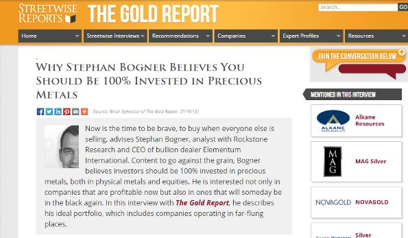 The Gold Report Interview #1 mit Stephan Bogner...